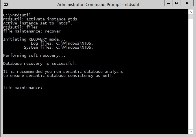Commit the transactions to database using ntdsutil