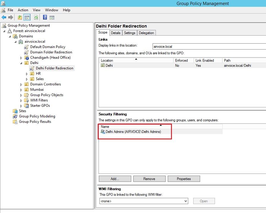 Figure 1.11 Security Filtering to Specific Group only