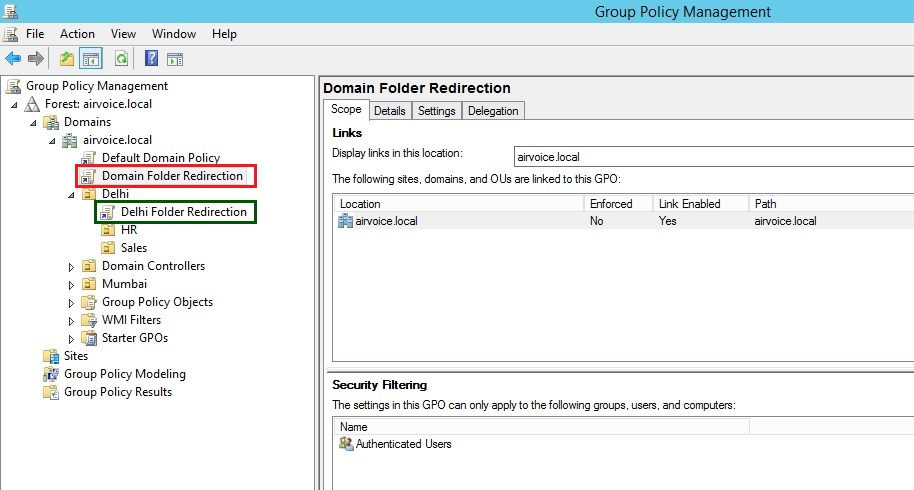 Figure 1.5 GPO Linked to Objects in Domain