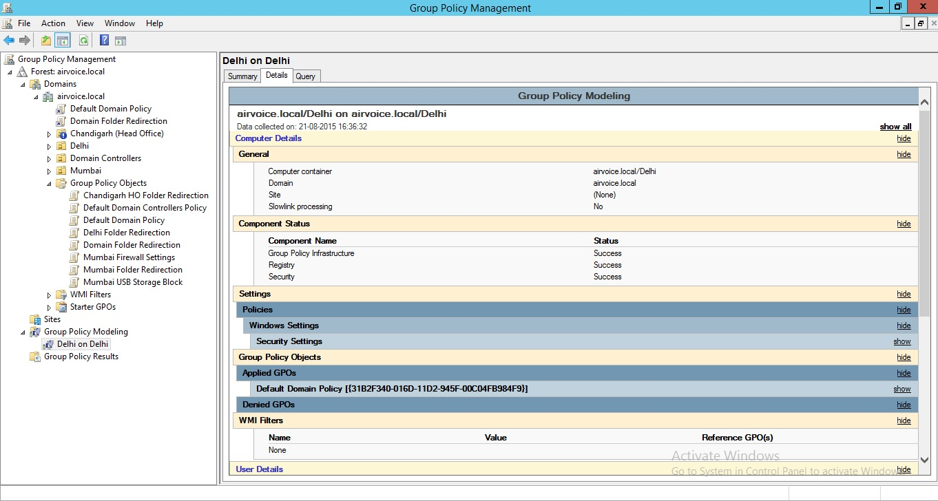 Figure 1.39 Group Policy Modelling Report
