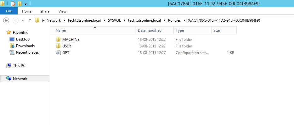 Figure 1.2 Group Policy template shown in the sysvol folder