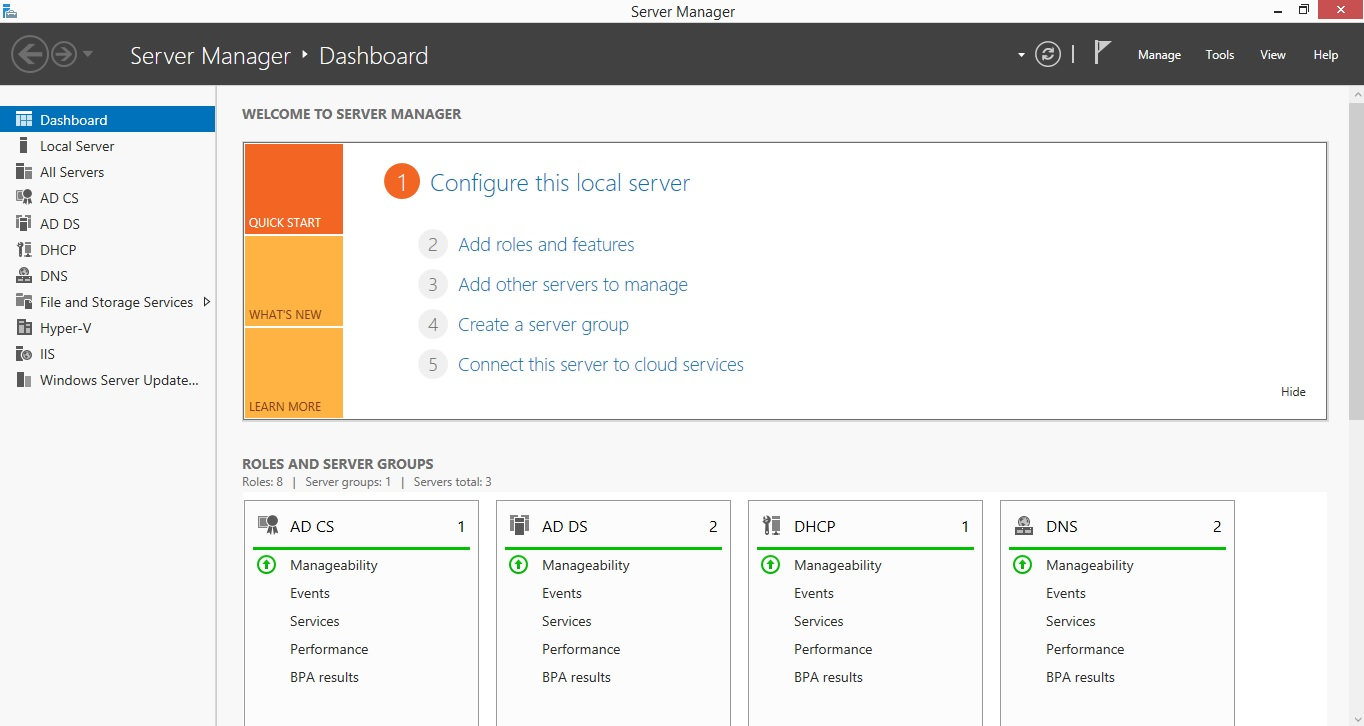 Server Manager in Windows Server 2012 R2