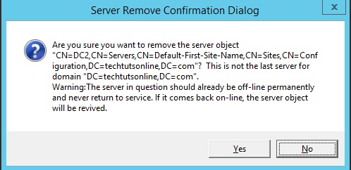 Server Remove Confirmation Dialog