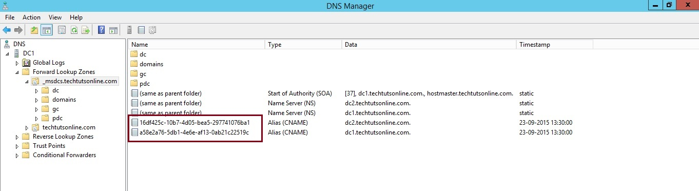Domain Controller GUIDs registered in DNS