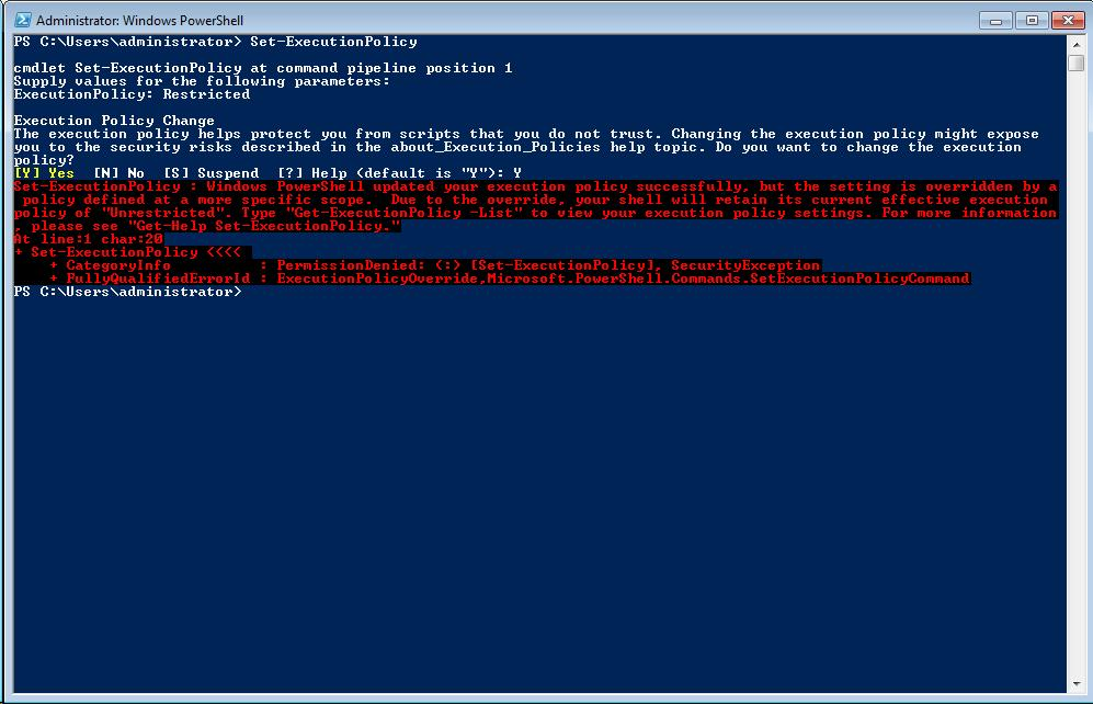 Set-ExecutionPolicy Command Run Locally Failed due to GPO Setting