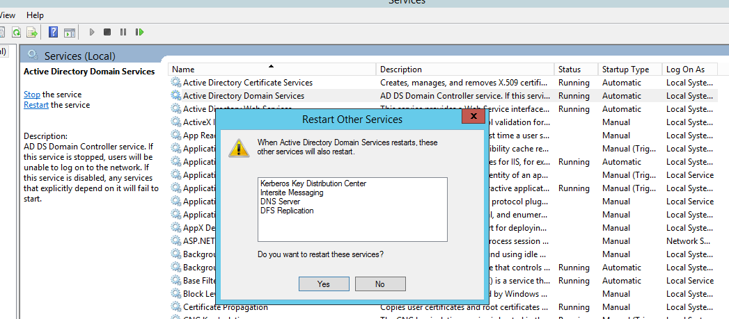 Restart Active Directory Domain Services