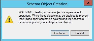 Schema Object Creation Warning