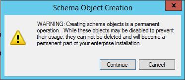 Schema Object Creation Warning