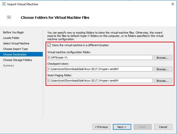 Import VM Choose Folder