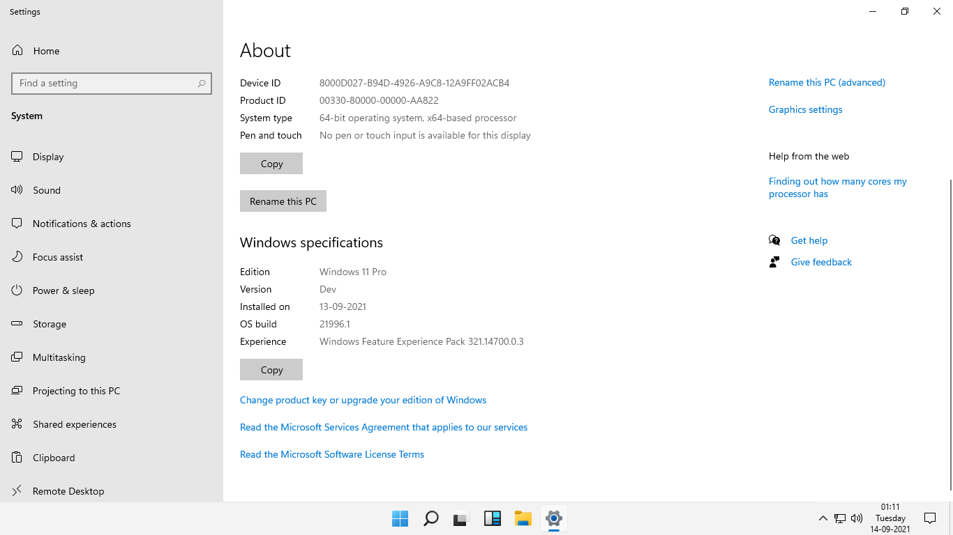 Windows 11 About Screen
